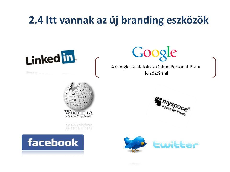 2.4 Itt vannak az új branding eszközök A Google találatok az Online Personal Brand jelzőszámai