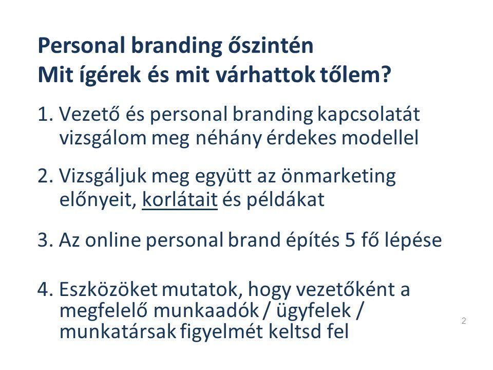 1. Vezető és personal branding kapcsolatát vizsgálom meg néhány érdekes modellel 2 Personal branding őszintén Mit ígérek és mit várhattok tőlem? 2. Vi