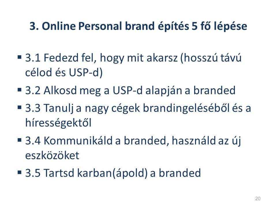 3. Online Personal brand építés 5 fő lépése  3.1 Fedezd fel, hogy mit akarsz (hosszú távú célod és USP-d)  3.2 Alkosd meg a USP-d alapján a branded