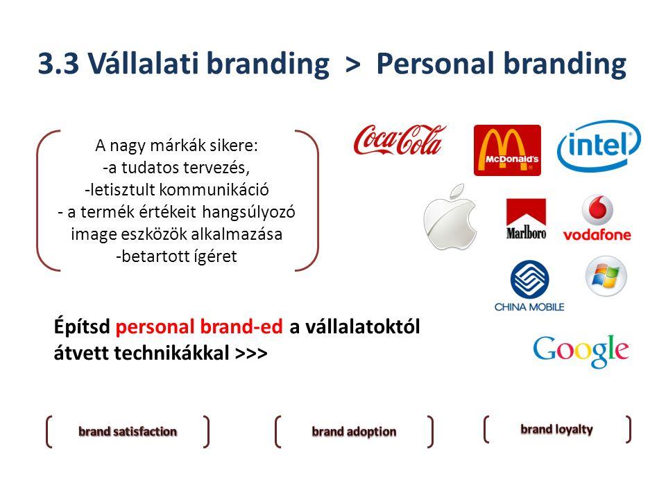 3.3 Vállalati branding > Personal branding Építsd personal brand-ed a vállalatoktól átvett technikákkal >>> A nagy márkák sikere: -a tudatos tervezés, -letisztult kommunikáció - a termék értékeit hangsúlyozó image eszközök alkalmazása -betartott ígéret