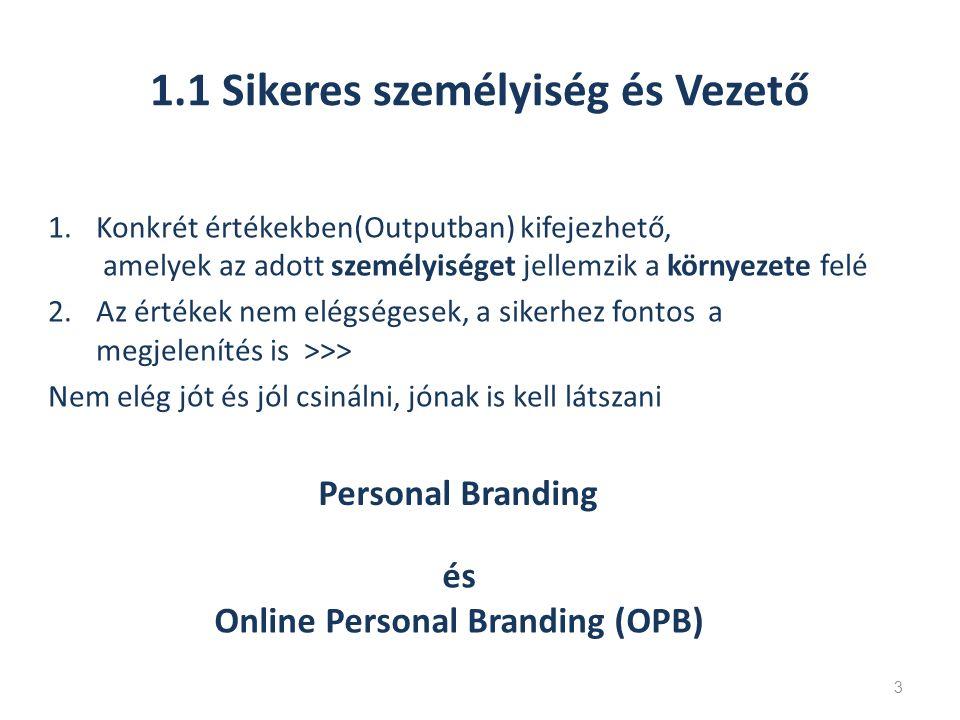 1.1 Sikeres személyiség és Vezető 1.Konkrét értékekben(Outputban) kifejezhető, amelyek az adott személyiséget jellemzik a környezete felé 2.Az értékek nem elégségesek, a sikerhez fontos a megjelenítés is >>> Nem elég jót és jól csinálni, jónak is kell látszani 3 Personal Branding és Online Personal Branding (OPB)