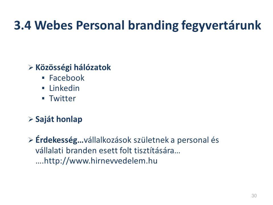  Közösségi hálózatok  Facebook  Linkedin  Twitter  Saját honlap  Érdekesség…vállalkozások születnek a personal és vállalati branden esett folt tisztítására… ….http://www.hirnevvedelem.hu 3.4 Webes Personal branding fegyvertárunk 30
