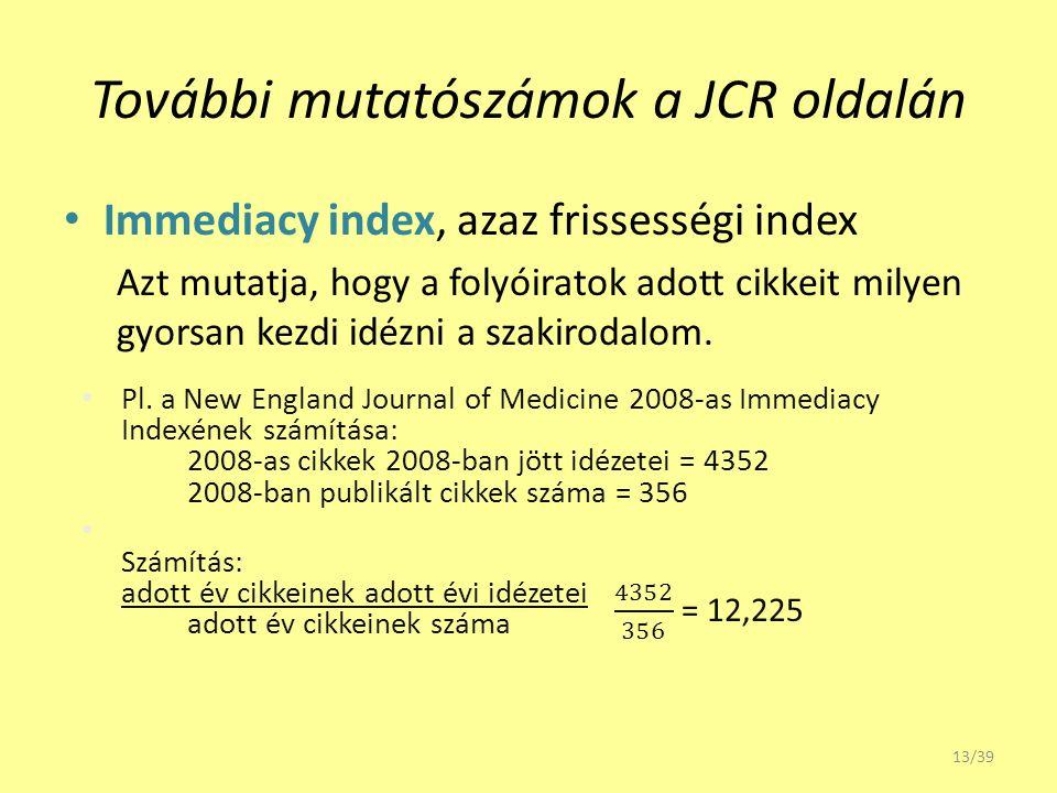 További mutatószámok a JCR oldalán Immediacy index, azaz frissességi index Azt mutatja, hogy a folyóiratok adott cikkeit milyen gyorsan kezdi idézni a