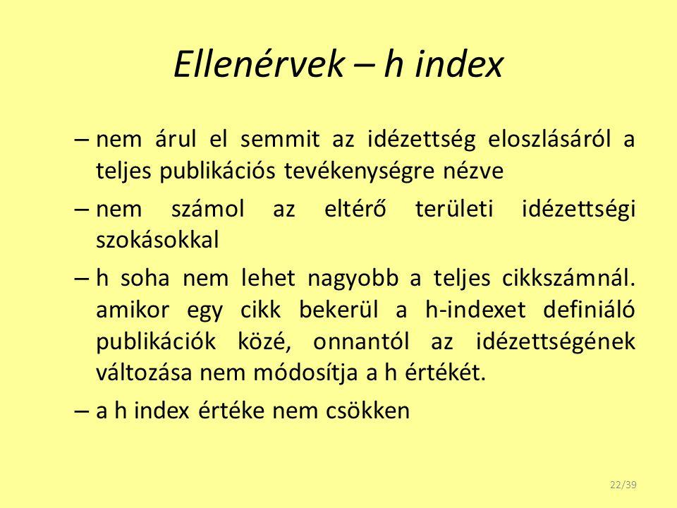 Ellenérvek – h index – nem árul el semmit az idézettség eloszlásáról a teljes publikációs tevékenységre nézve – nem számol az eltérő területi idézetts