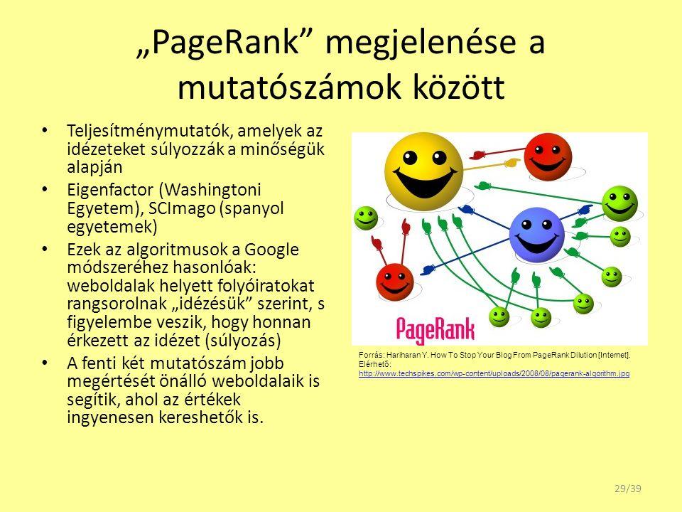 """""""PageRank"""" megjelenése a mutatószámok között Teljesítménymutatók, amelyek az idézeteket súlyozzák a minőségük alapján Eigenfactor (Washingtoni Egyetem"""