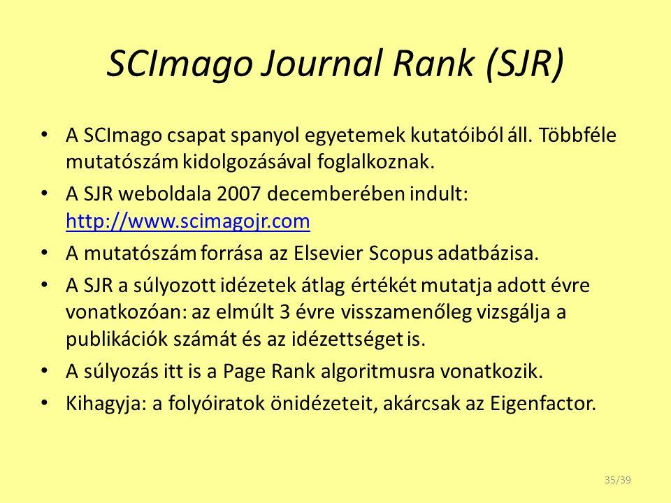 SCImago Journal Rank (SJR) A SCImago csapat spanyol egyetemek kutatóiból áll. Többféle mutatószám kidolgozásával foglalkoznak. A SJR weboldala 2007 de