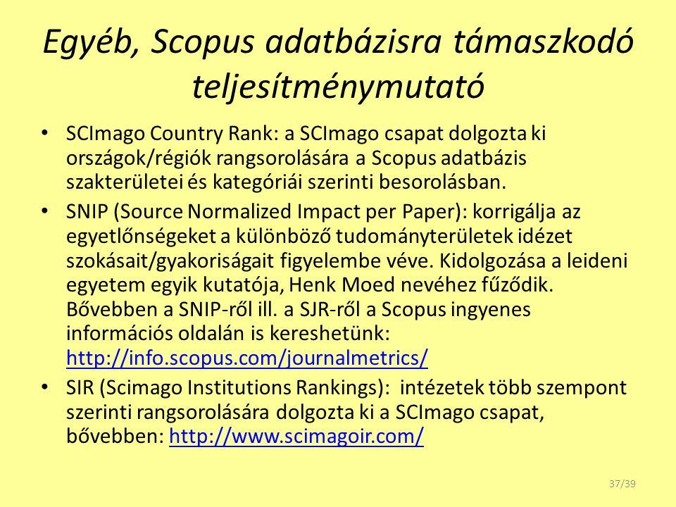 Egyéb, Scopus adatbázisra támaszkodó teljesítménymutató SCImago Country Rank: a SCImago csapat dolgozta ki országok/régiók rangsorolására a Scopus ada