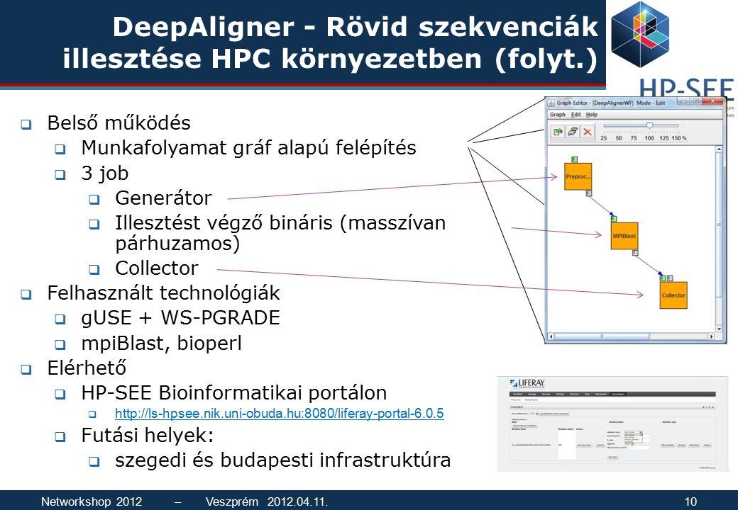 DeepAligner - Rövid szekvenciák illesztése HPC környezetben (folyt.)  Belső működés  Munkafolyamat gráf alapú felépítés  3 job  Generátor  Illesz