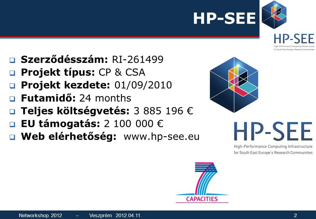HP-SEE  Szerződésszám: RI-261499  Projekt típus: CP & CSA  Projekt kezdete: 01/09/2010  Futamidő: 24 months  Teljes költségvetés: 3 885 196 €  EU támogatás: 2 100 000 €  Web elérhetőség: www.hp-see.eu Networkshop 2012 – Veszprém 2012.04.11.2