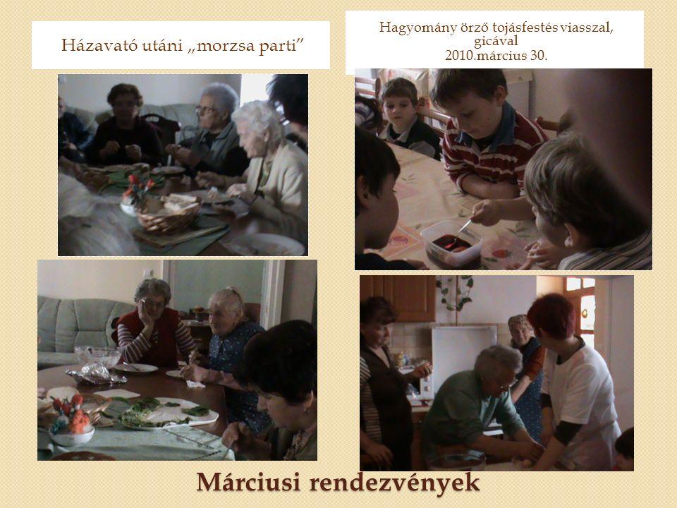 """Márciusi rendezvények Házavató utáni """"morzsa parti Hagyomány örző tojásfestés viasszal, gicával 2010.március 30."""