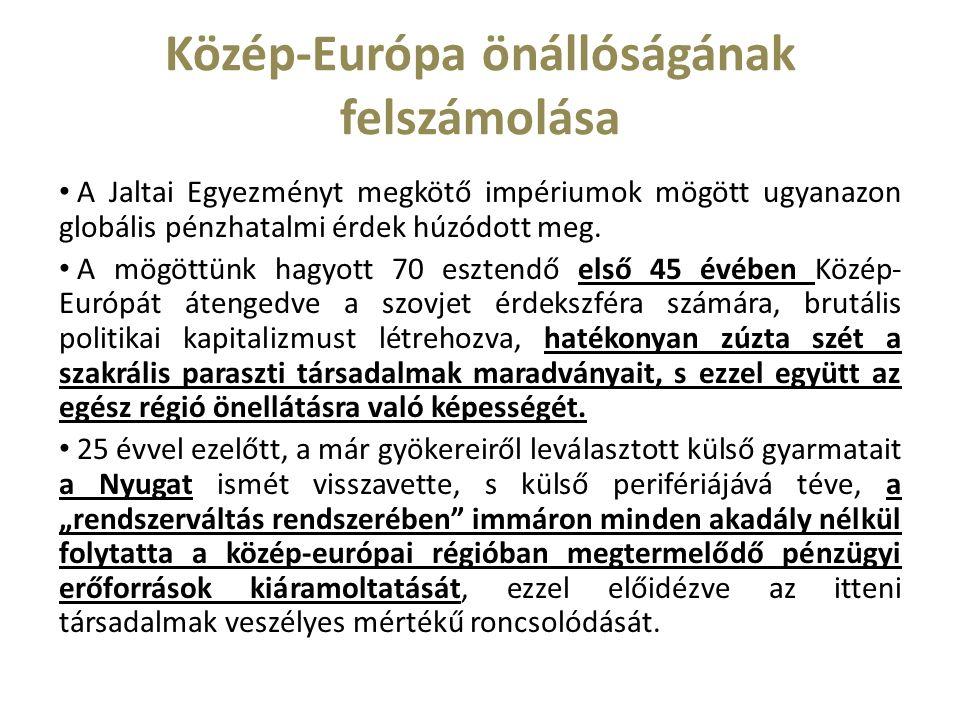 Közép-Európa önállóságának felszámolása A Jaltai Egyezményt megkötő impériumok mögött ugyanazon globális pénzhatalmi érdek húzódott meg.