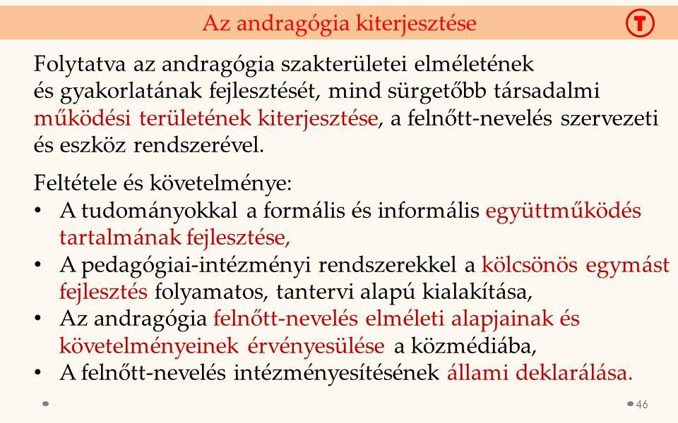 Az andragógia kiterjesztése Folytatva az andragógia szakterületei elméletének és gyakorlatának fejlesztését, mind sürgetőbb társadalmi működési terüle