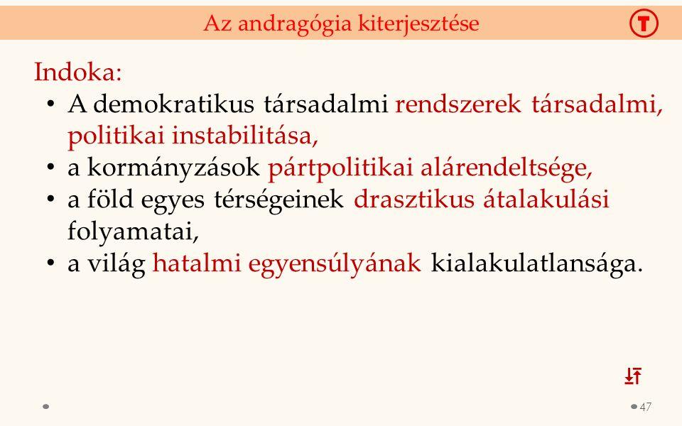 Indoka: A demokratikus társadalmi rendszerek társadalmi, politikai instabilitása, a kormányzások pártpolitikai alárendeltsége, a föld egyes térségeine