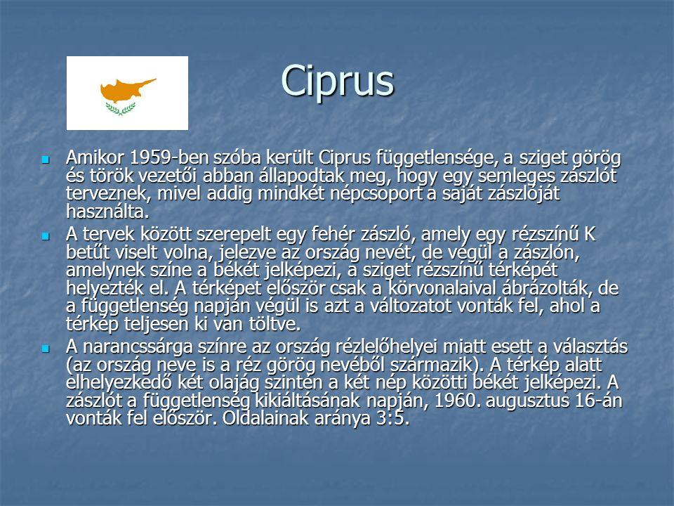 Ciprus Amikor 1959-ben szóba került Ciprus függetlensége, a sziget görög és török vezetői abban állapodtak meg, hogy egy semleges zászlót terveznek, mivel addig mindkét népcsoport a saját zászlóját használta.