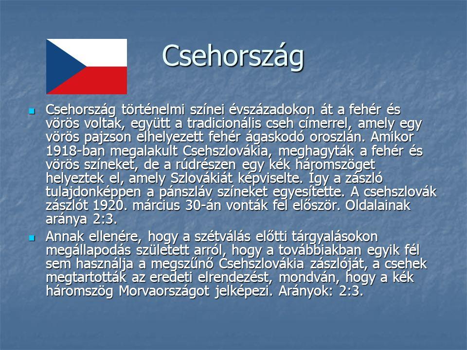 Csehország Csehország történelmi színei évszázadokon át a fehér és vörös voltak, együtt a tradicionális cseh címerrel, amely egy vörös pajzson elhelyezett fehér ágaskodó oroszlán.