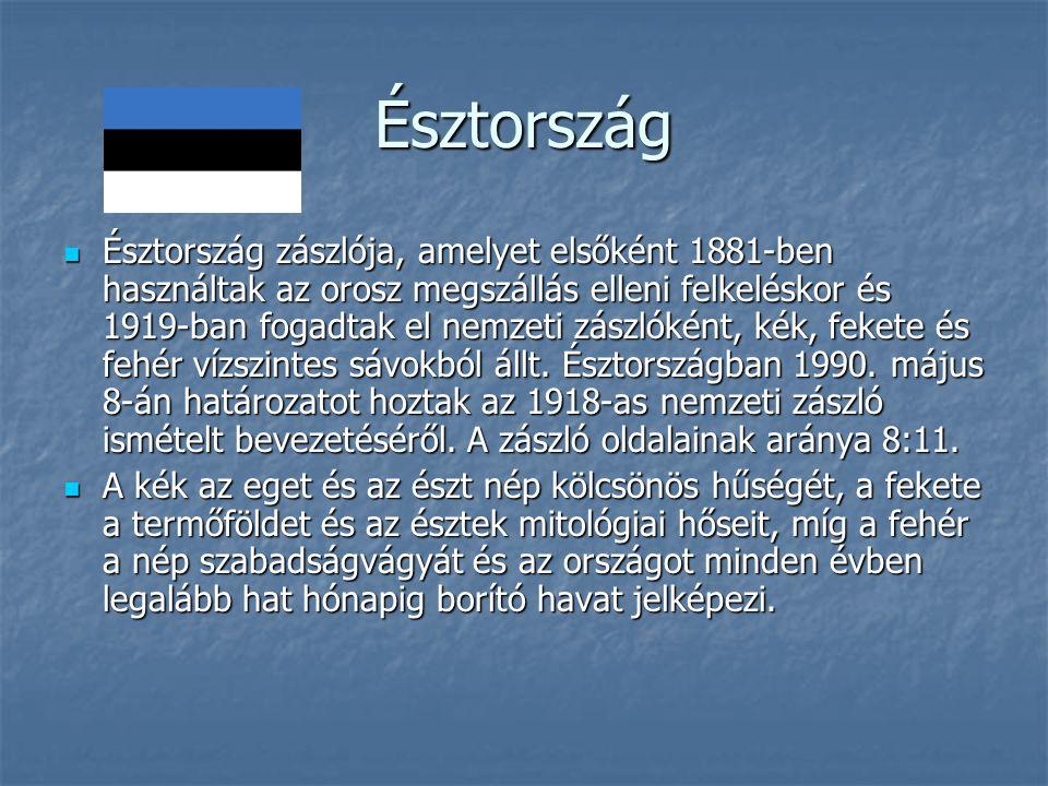 Észtország Észtország zászlója, amelyet elsőként 1881-ben használtak az orosz megszállás elleni felkeléskor és 1919-ban fogadtak el nemzeti zászlóként, kék, fekete és fehér vízszintes sávokból állt.