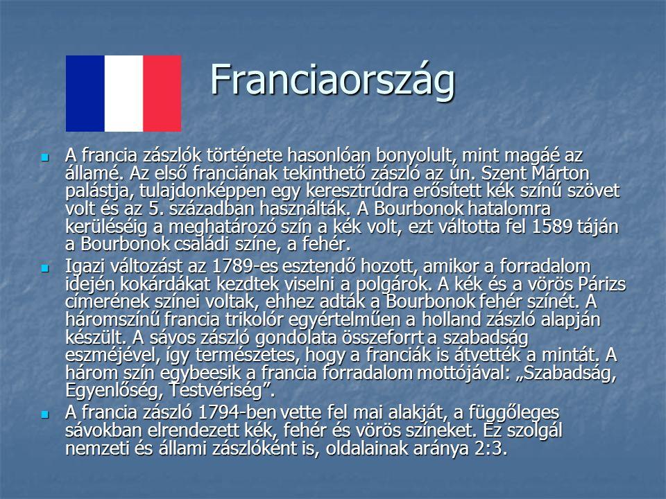 Franciaország A francia zászlók története hasonlóan bonyolult, mint magáé az államé.