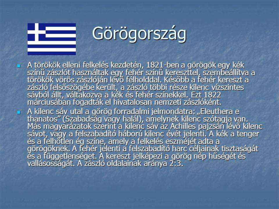 Görögország A törökök elleni felkelés kezdetén, 1821-ben a görögök egy kék színű zászlót használtak egy fehér színű kereszttel, szembeállítva a törökök vörös zászlóján lévő félholddal.