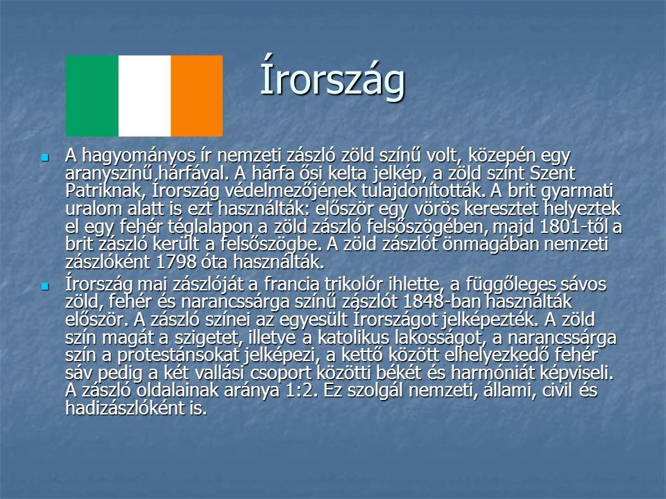 Írország A hagyományos ír nemzeti zászló zöld színű volt, közepén egy aranyszínű hárfával.