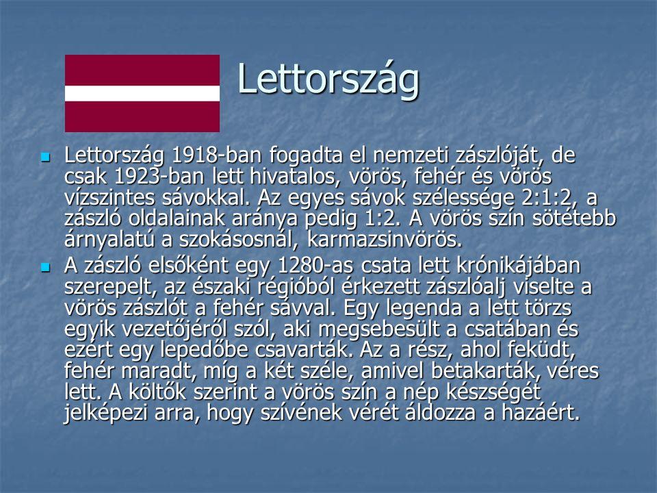 Lettország Lettország 1918-ban fogadta el nemzeti zászlóját, de csak 1923-ban lett hivatalos, vörös, fehér és vörös vízszintes sávokkal.