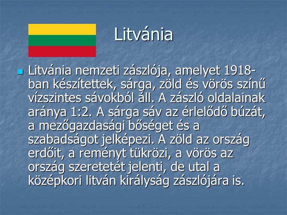 Litvánia Litvánia nemzeti zászlója, amelyet 1918- ban készítettek, sárga, zöld és vörös színű vízszintes sávokból áll.