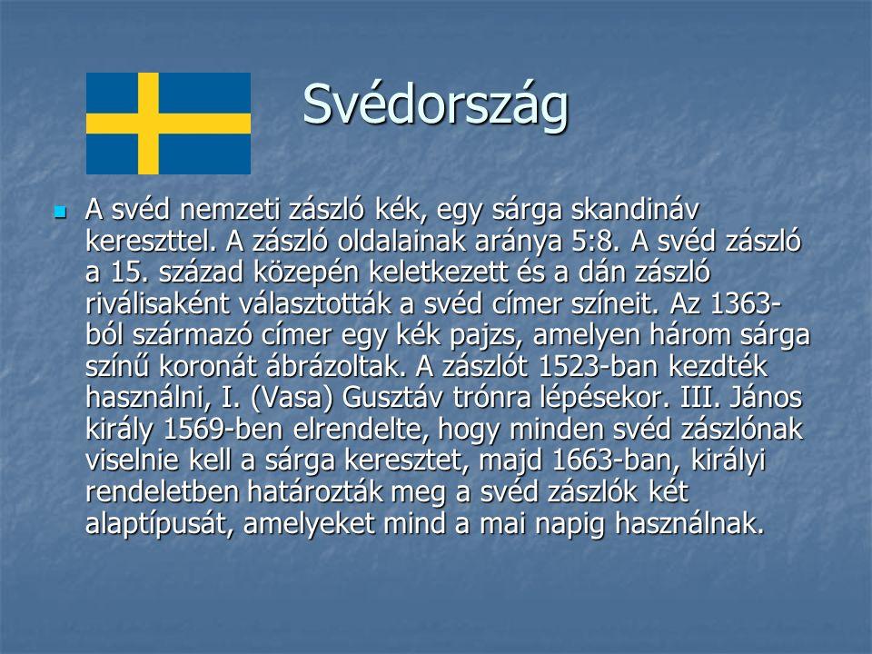 Svédország A svéd nemzeti zászló kék, egy sárga skandináv kereszttel.
