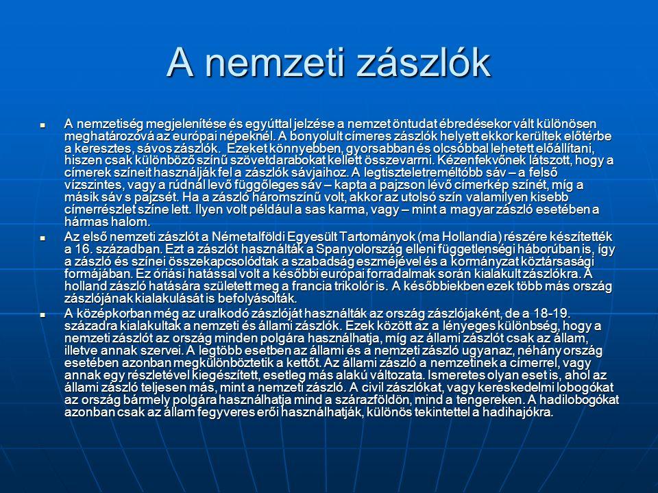 Szlovénia A szlovén nemzeti színeket az 1848-as forradalmak idején fogadták el.