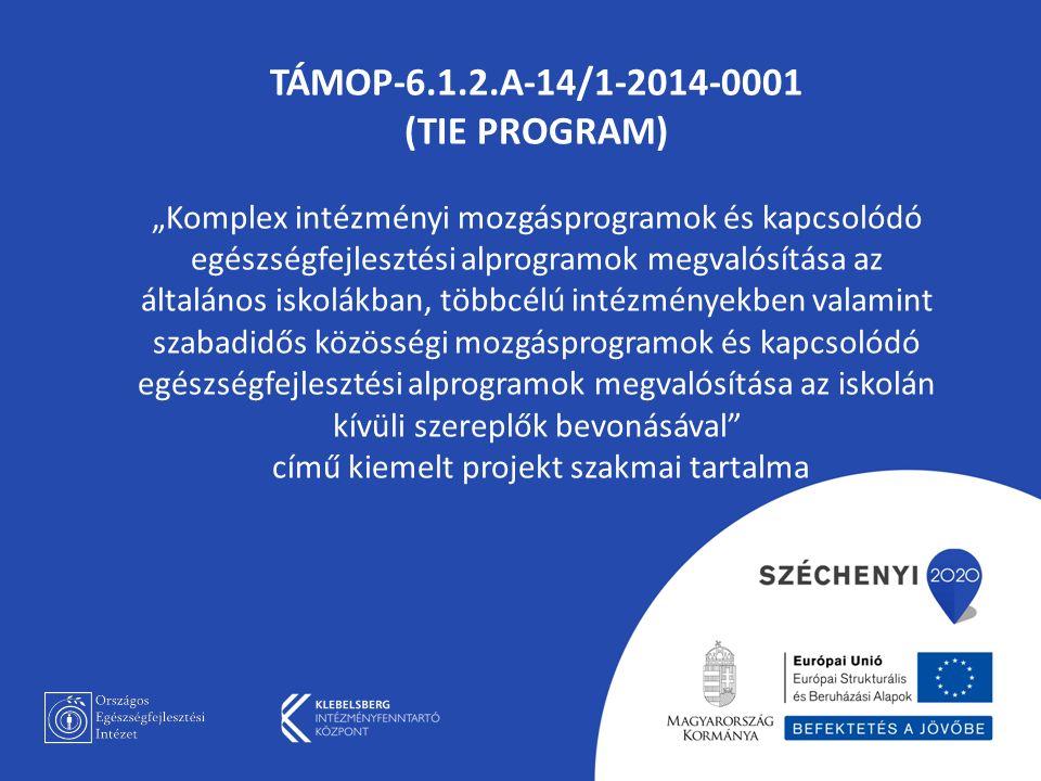 """TÁMOP-6.1.2.A-14/1-2014-0001 (TIE PROGRAM) """"Komplex intézményi mozgásprogramok és kapcsolódó egészségfejlesztési alprogramok megvalósítása az általános iskolákban, többcélú intézményekben valamint szabadidős közösségi mozgásprogramok és kapcsolódó egészségfejlesztési alprogramok megvalósítása az iskolán kívüli szereplők bevonásával című kiemelt projekt szakmai tartalma"""