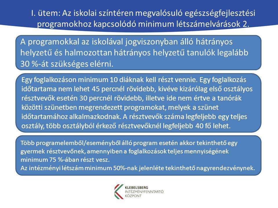 I. ütem: Az iskolai színtéren megvalósuló egészségfejlesztési programokhoz kapcsolódó minimum létszámelvárások 2. Egy foglalkozáson minimum 10 diáknak