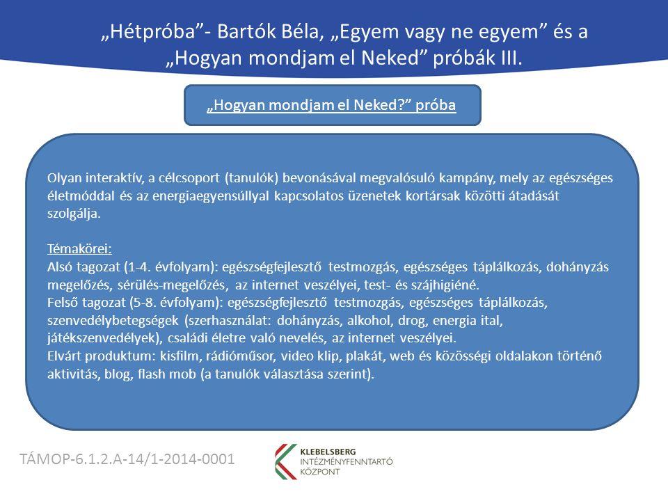 """TÁMOP-6.1.2.A-14/1-2014-0001 """"Hétpróba - Bartók Béla, """"Egyem vagy ne egyem és a """"Hogyan mondjam el Neked próbák III."""
