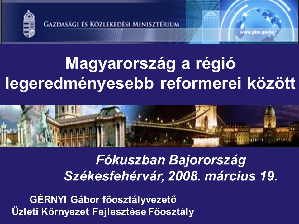 GÉRNYI Gábor főosztályvezető Üzleti Környezet Fejlesztése Főosztály Magyarország a régió legeredményesebb reformerei között Fókuszban Bajorország Székesfehérvár, 2008.