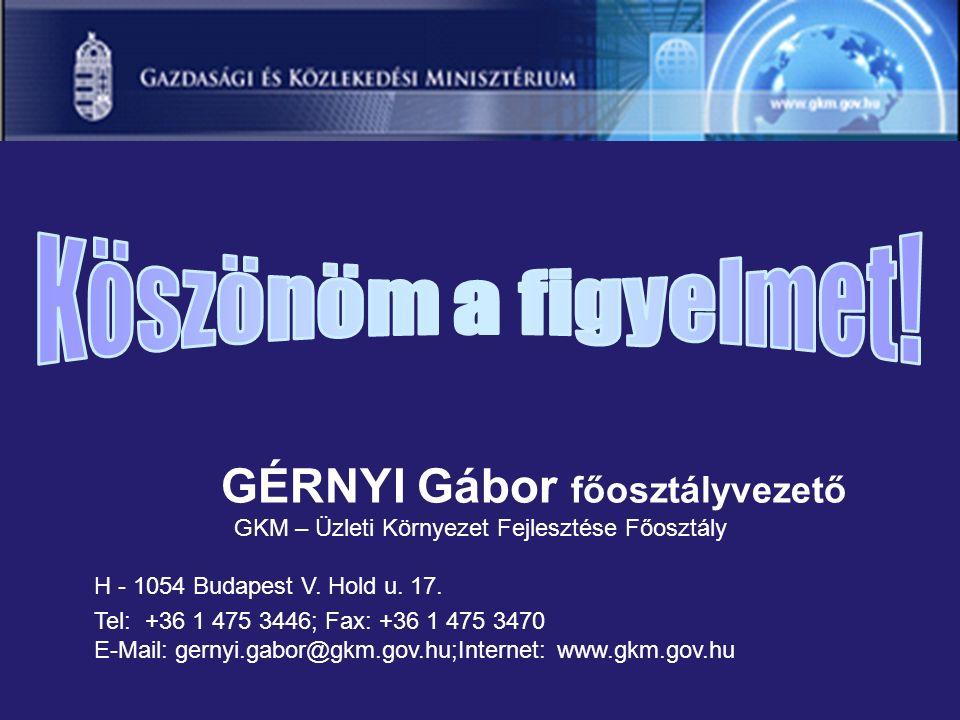 GÉRNYI Gábor főosztályvezető GKM – Üzleti Környezet Fejlesztése Főosztály H - 1054 Budapest V.