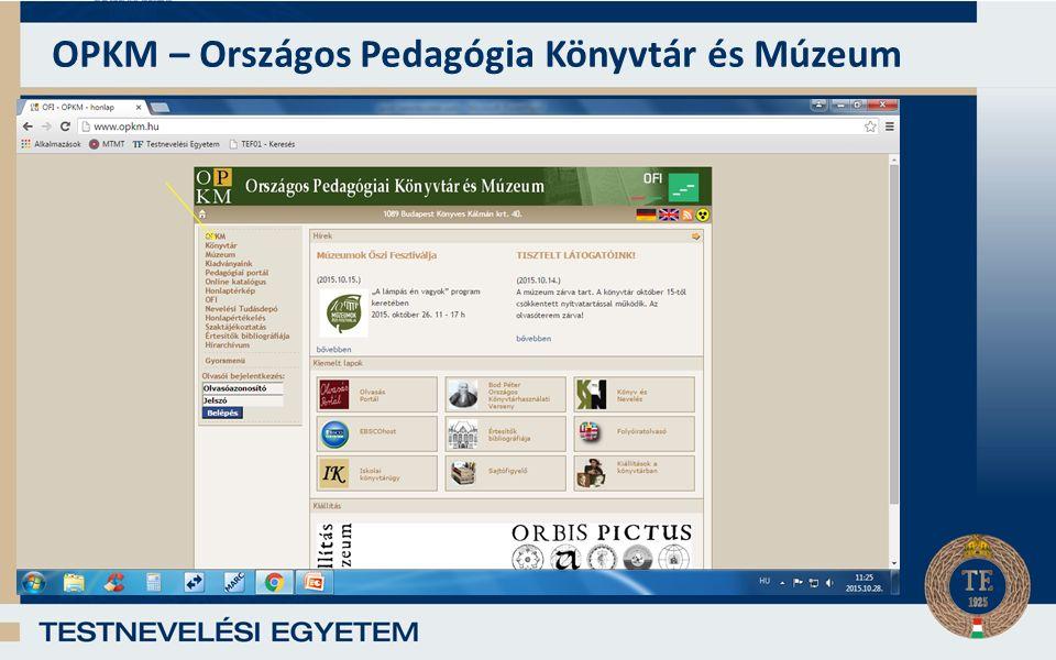 OPKM – Országos Pedagógia Könyvtár és Múzeum