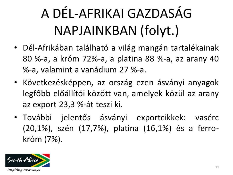 A DÉL-AFRIKAI GAZDASÁG NAPJAINKBAN (folyt.) Dél-Afrikában található a világ mangán tartalékainak 80 %-a, a króm 72%-a, a platina 88 %-a, az arany 40 %-a, valamint a vanádium 27 %-a.