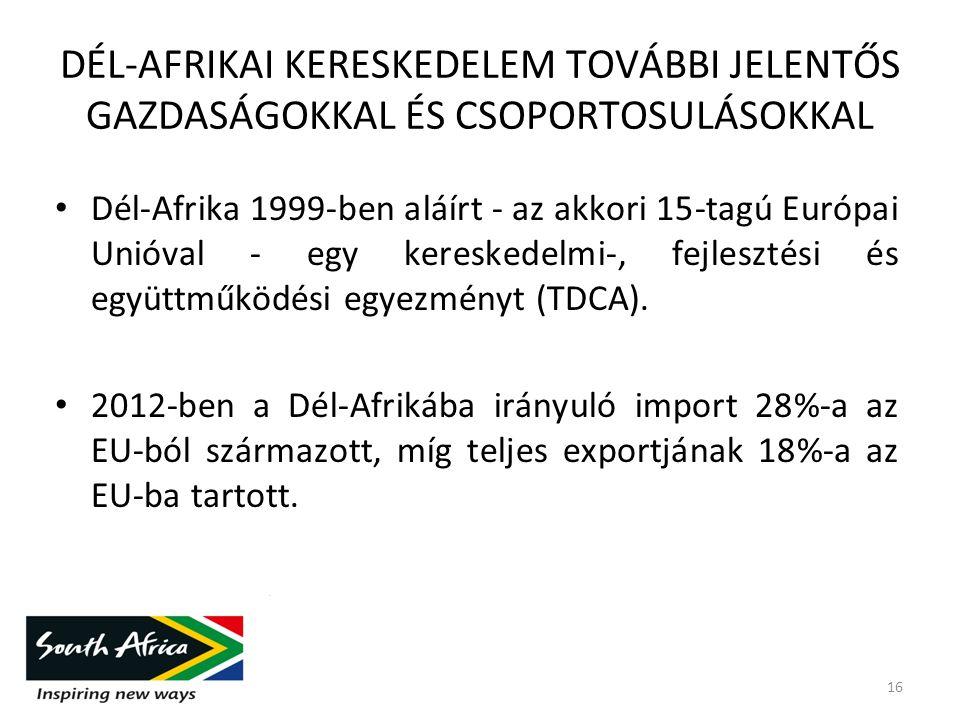 DÉL-AFRIKAI KERESKEDELEM TOVÁBBI JELENTŐS GAZDASÁGOKKAL ÉS CSOPORTOSULÁSOKKAL Dél-Afrika 1999-ben aláírt - az akkori 15-tagú Európai Unióval - egy kereskedelmi-, fejlesztési és együttműködési egyezményt (TDCA).