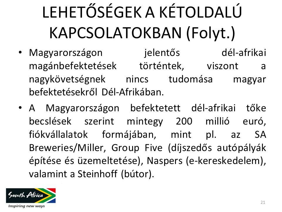 LEHETŐSÉGEK A KÉTOLDALÚ KAPCSOLATOKBAN (Folyt.) Magyarországon jelentős dél-afrikai magánbefektetések történtek, viszont a nagykövetségnek nincs tudomása magyar befektetésekről Dél-Afrikában.