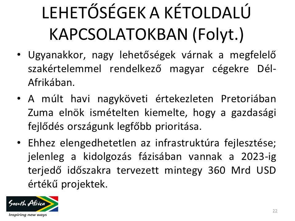 LEHETŐSÉGEK A KÉTOLDALÚ KAPCSOLATOKBAN (Folyt.) Ugyanakkor, nagy lehetőségek várnak a megfelelő szakértelemmel rendelkező magyar cégekre Dél- Afrikában.