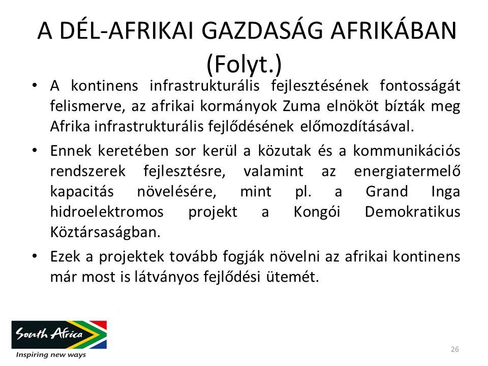 A DÉL-AFRIKAI GAZDASÁG AFRIKÁBAN (Folyt.) A kontinens infrastrukturális fejlesztésének fontosságát felismerve, az afrikai kormányok Zuma elnököt bízták meg Afrika infrastrukturális fejlődésének előmozdításával.