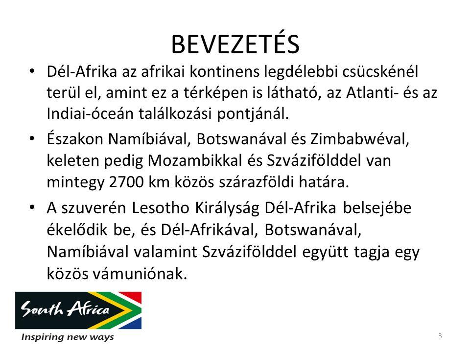 Dél-Afrika területe mintegy 1,2 millió km², lakossága meghaladta az 50 milliót.