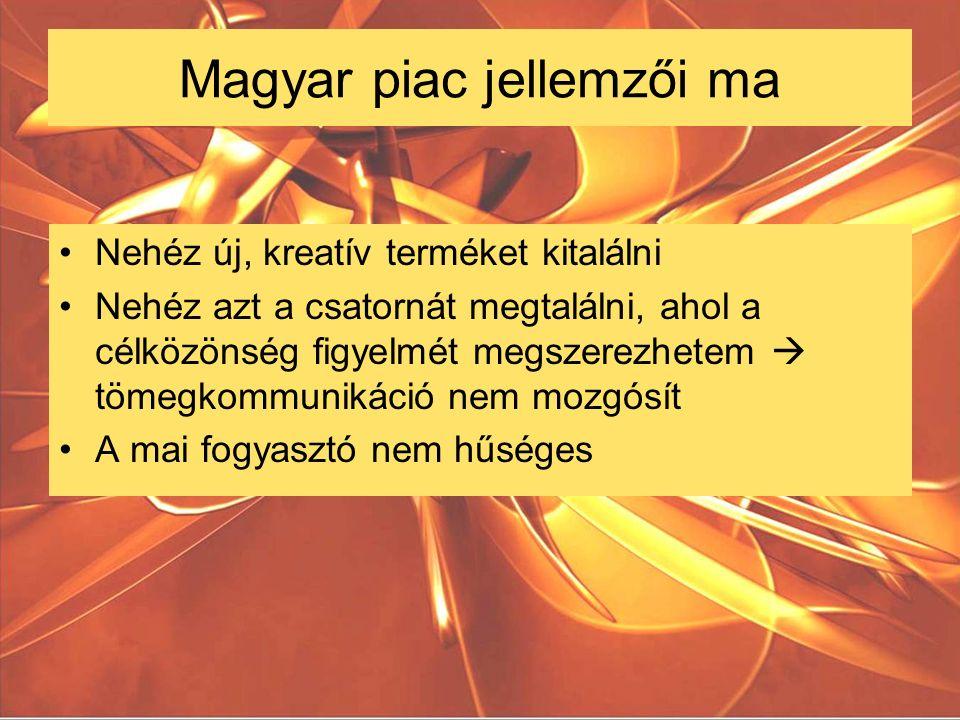 Magyar piac jellemzői ma Nehéz új, kreatív terméket kitalálni Nehéz azt a csatornát megtalálni, ahol a célközönség figyelmét megszerezhetem  tömegkommunikáció nem mozgósít A mai fogyasztó nem hűséges