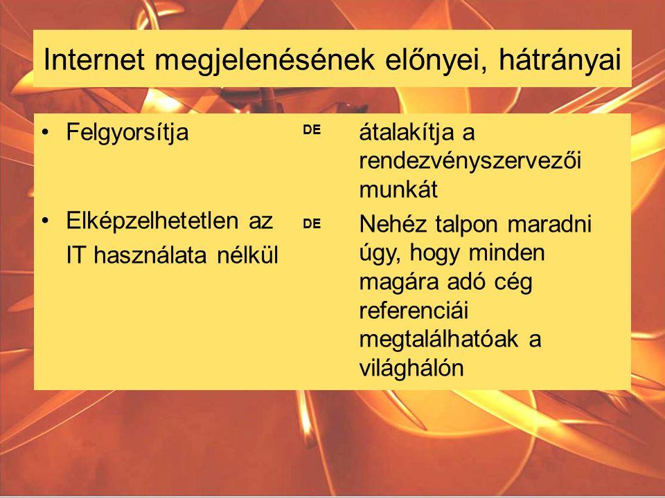 Internet megjelenésének előnyei, hátrányai átalakítja a rendezvényszervezői munkát Nehéz talpon maradni úgy, hogy minden magára adó cég referenciái megtalálhatóak a világhálón Felgyorsítja Elképzelhetetlen az IT használata nélkül DE