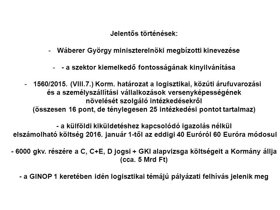 Jelentős történések: -Wáberer György miniszterelnöki megbízotti kinevezése -- a szektor kiemelkedő fontosságának kinyilvánítása -1560/2015.