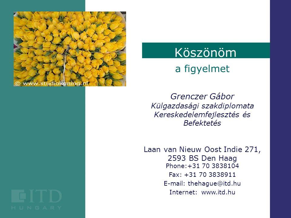 a figyelmet Grenczer Gábor Külgazdasági szakdiplomata Kereskedelemfejlesztés és Befektetés Laan van Nieuw Oost Indie 271, 2593 BS Den Haag Phone:+31 7