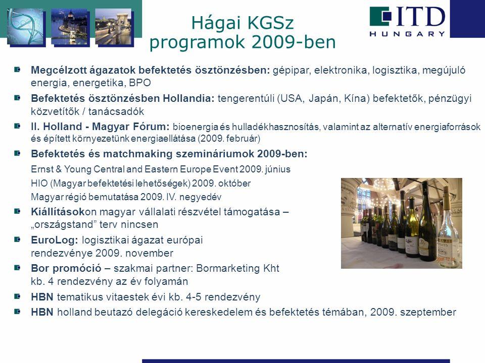 Hágai KGSz programok 2009-ben Megcélzott ágazatok befektetés ösztönzésben: gépipar, elektronika, logisztika, megújuló energia, energetika, BPO Befekte