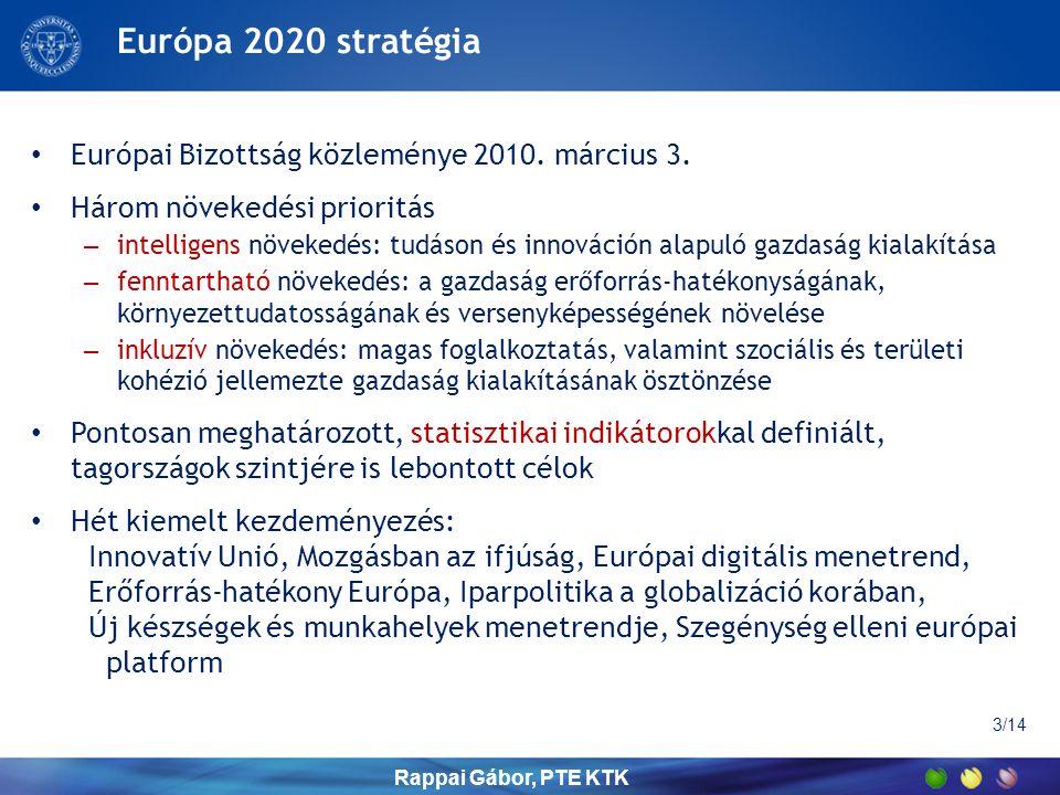 Stratégiai célok számokban (EU összesen) Mutatószám ÉrtékCélérték 200520102020 Foglalkoztatási ráta a 20-64 éves korosztályban (%) 67,968,575,0 K+F kiadások aránya a GDP %-ában 1,82,03,0 Üvegházhatást okozó gázok kibocsátása az 1990-es év %-ában 93,285,780,0 Megújuló energiaforrások aránya (%) 8,712,520,0 Végső energia felhasználás (millió tonna kőolaj egyenértékes, TOE) 1189,31160,01086,0 Korai iskola-elhagyók aránya (%) 15,713,910,0 Felsőfokú végzettségűek aránya a 30-34 éves népességben (%) 28,133,640,0 Nyomorban és kirekesztettségben élők (illetve ettől veszélyeztetettek) száma (millió fő) 124,0118,196,6 Rappai Gábor, PTE KTK 4/14