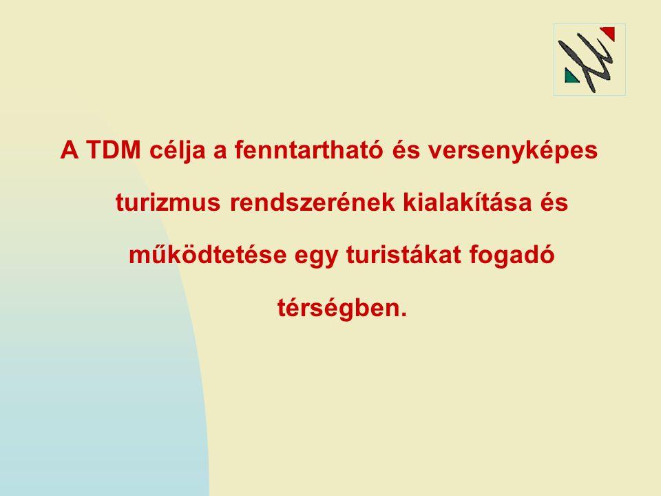 A TDM RENDSZER FŐ JELLEMZŐI (1) Alulról építkezés: a turizmusban legközvetlenebb szinten érintett szereplők (vállalkozó, önkormányzat) összefogásával alapozható meg a rendszer.