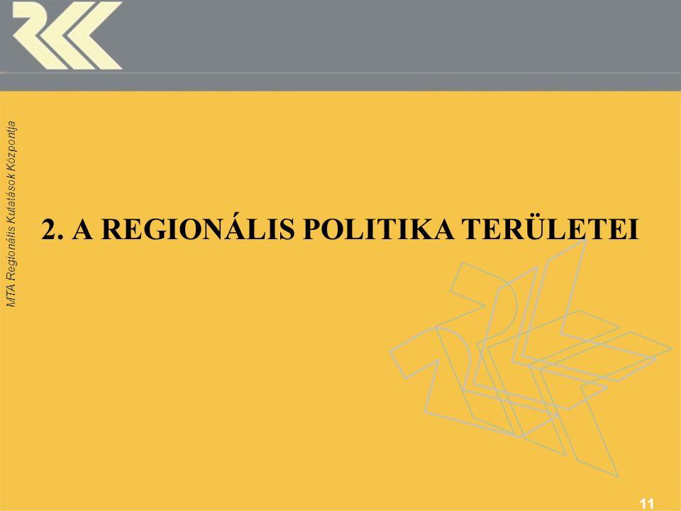 MTA Regionális Kutatások Központja 11 2. A REGIONÁLIS POLITIKA TERÜLETEI