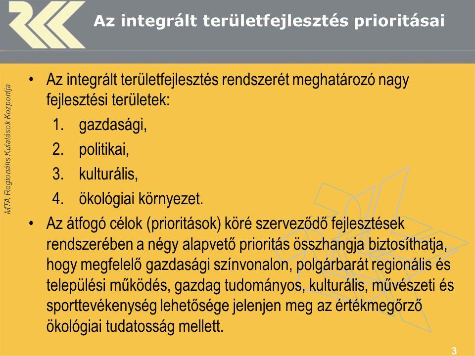 MTA Regionális Kutatások Központja Az integrált területfejlesztés prioritásai Az integrált területfejlesztés rendszerét meghatározó nagy fejlesztési területek: 1.gazdasági, 2.politikai, 3.kulturális, 4.ökológiai környezet.