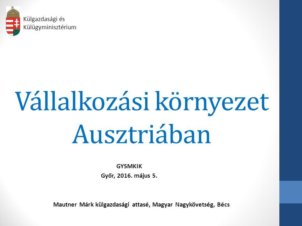 Vállalkozási környezet Ausztriában GYSMKIK Győr, 2016.