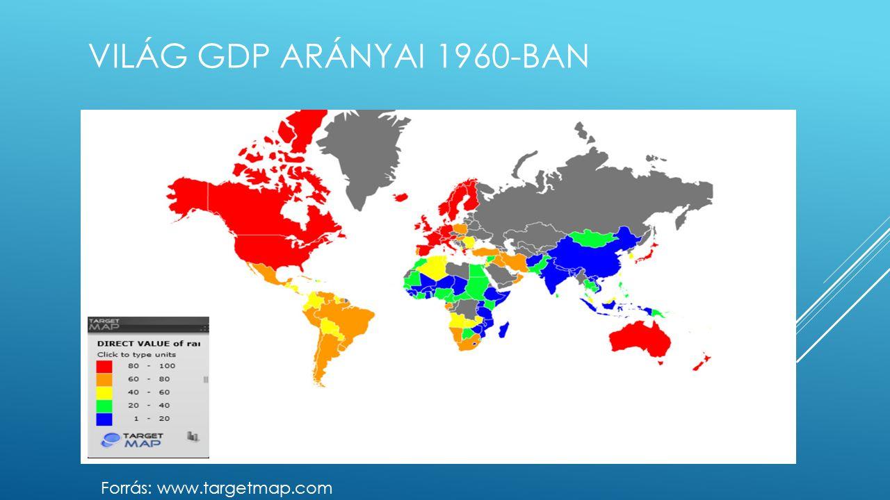 VILÁG GDP ARÁNYAI 1960-BAN Forrás: www.targetmap.com